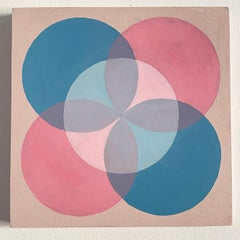 Contemporary abstract painting mineral paint wood pink blue female artist
