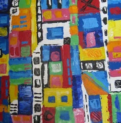 """Taos Pueblo (Blue Window),"" Abstract Acrylic on Board signed by Kyle Zubatsky"