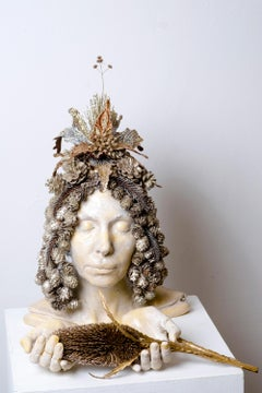 THIRD EYE- sculpture with pinecones and headdress