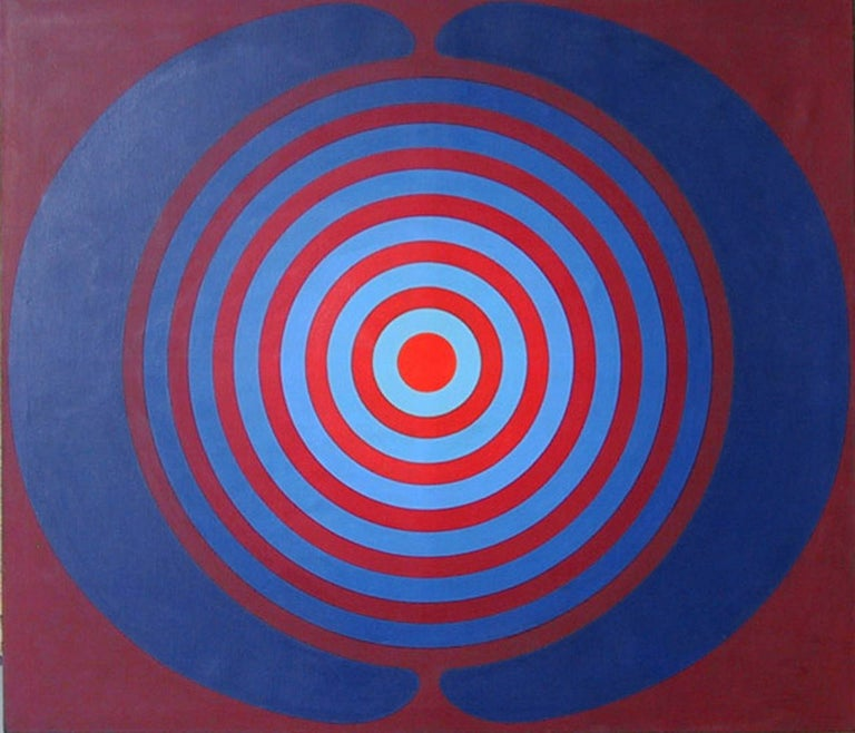An large acrylic painting by Kyohei Inukai from 1968. An abstract optical image with contrasting blue and red hues.   Artist: Kyohei Inukai, American (1913 - 1985) Title: Target  Year: circa 1968 Medium: Acrylic on Canvas, signed verso Size: 66 x 77