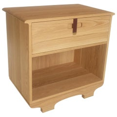 Kyoto Bedside Table or Nightstand with Drawer, White Oak