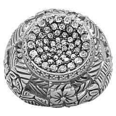Kyoto Black Diamond Center & Engraved Sterling Silver Ring