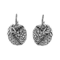 Kyoto Black Diamond & Engraved Sterling Silver Earrings