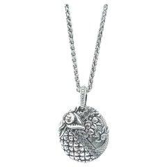 Kyoto Black Diamond & Engraved Sterling Silver Pendant