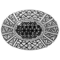Kyoto Black Diamond & Engraved Sterling Silver Ring