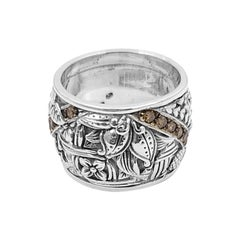 Kyoto Champagne Diamond and Sterling Silver Engraved Ring