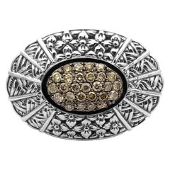 Kyoto Champagne Diamond & Engraved Sterling Silver Ring