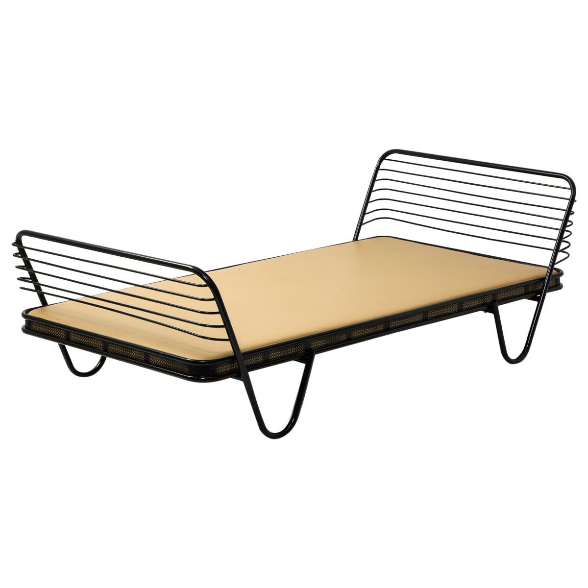 """Mid-Century French """"Kyoto'' Daybed By Mathieu Matégot in Black Enameled Iron"""