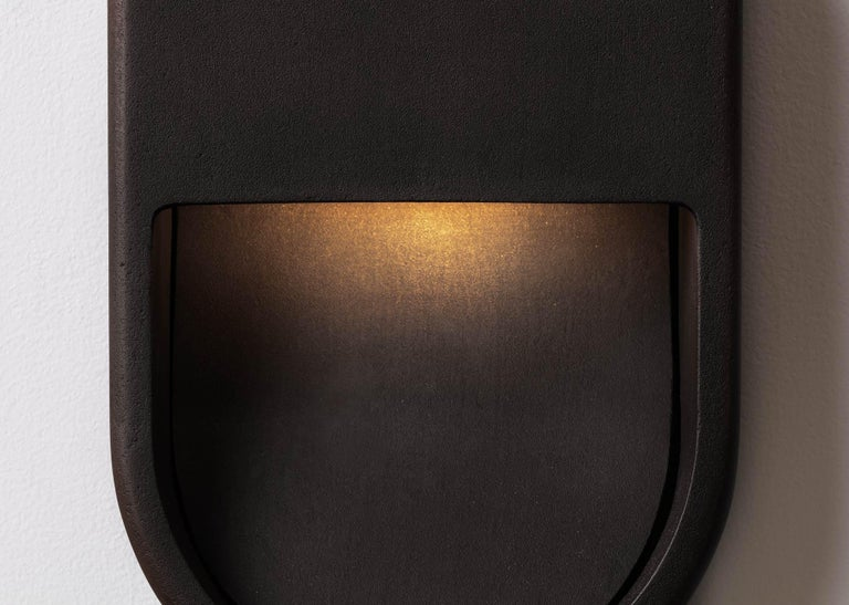 Kyoto Indoor Outdoor Led Cast Sconce Plated Brass Size Wide Wet Rated Light In New Condition For Sale In Los Angeles, CA
