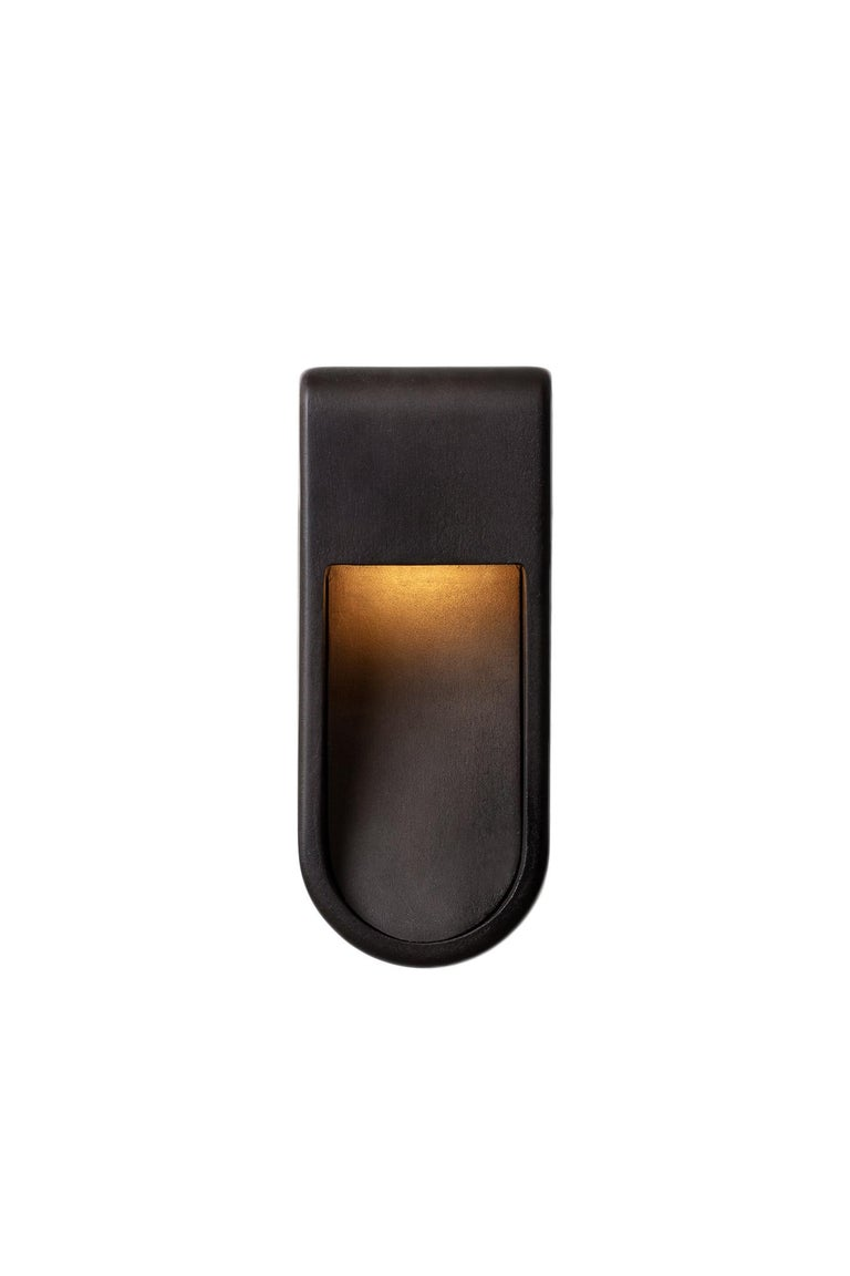 Kyoto Indoor Outdoor Led Cast Sconce Plated Brass Size Wide Wet Rated Light For Sale 3