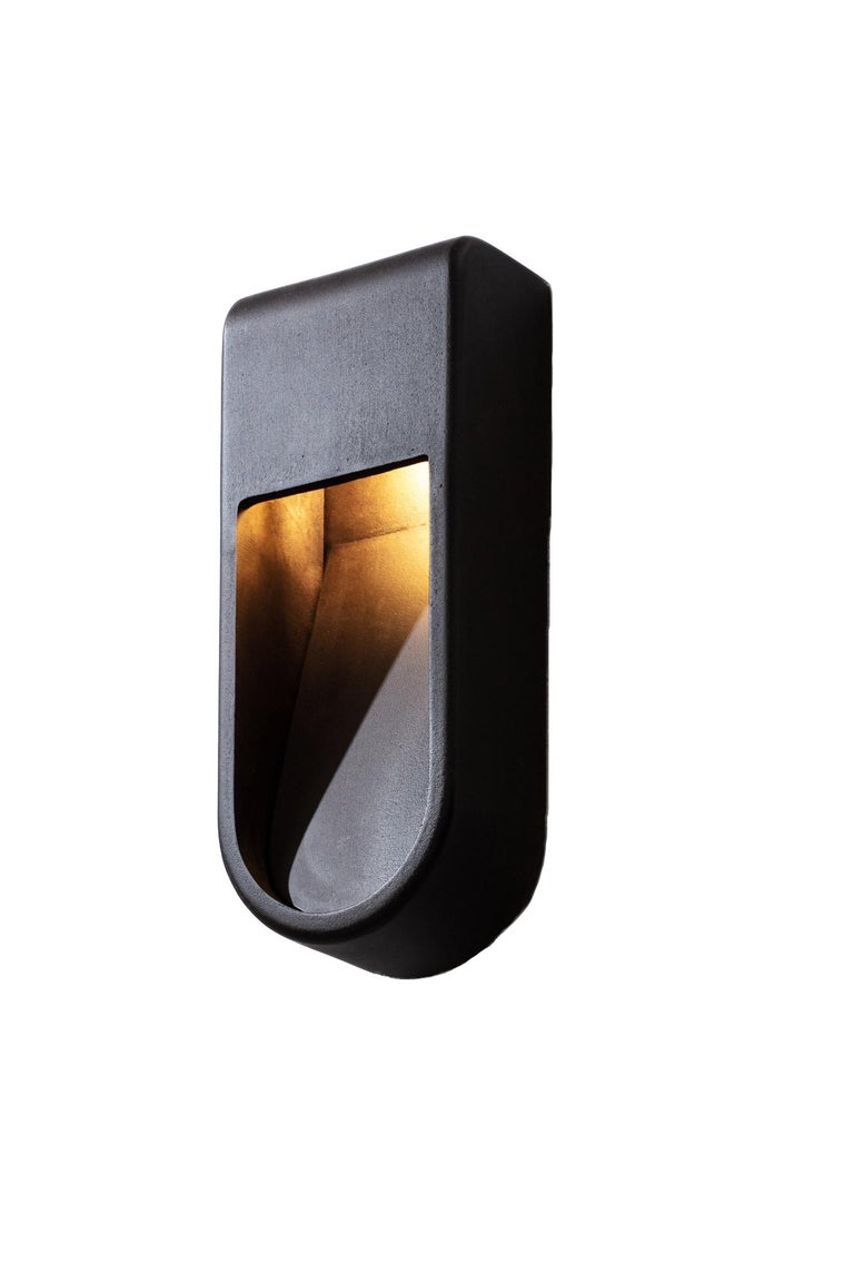 Contemporary Kyoto Indoor Outdoor Led Cast Sconce Plated Size Wide Wet Rated Light For Sale