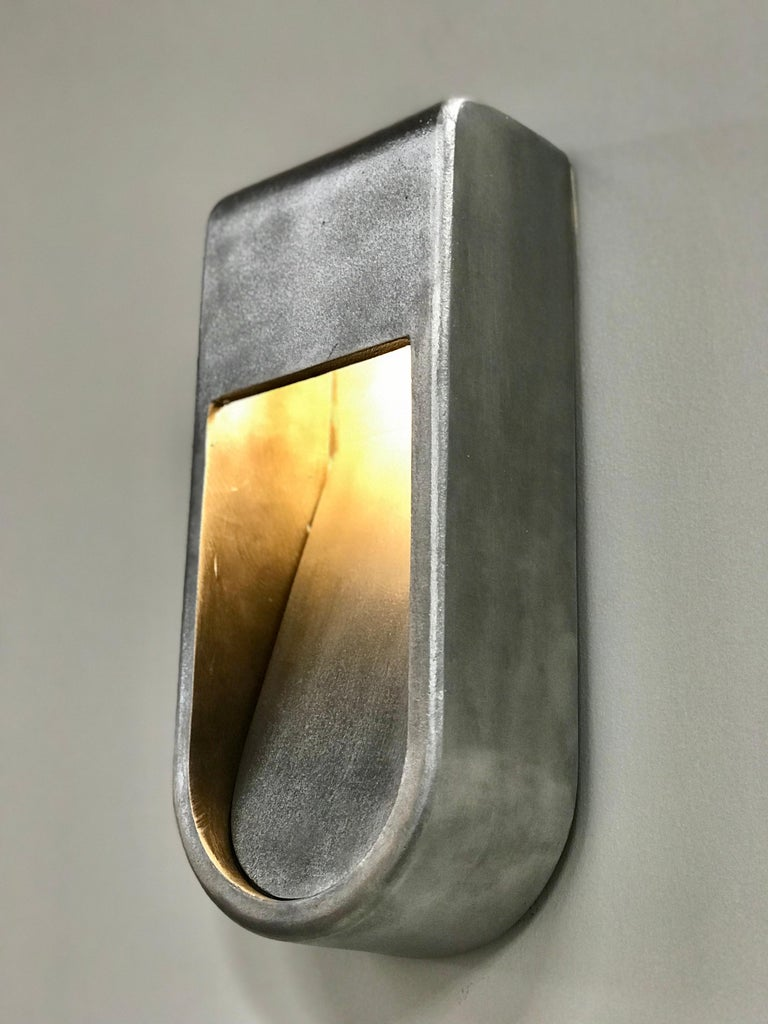 Mid-Century Modern Kyoto Indoor Outdoor LED Sconce Poured Aluminum Size Long Wet Rated Light For Sale