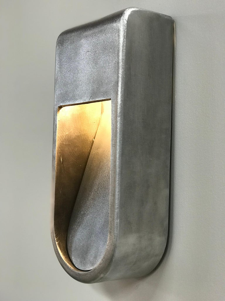 American Kyoto Indoor Outdoor LED Sconce Poured Aluminum Size Long Wet Rated Light For Sale