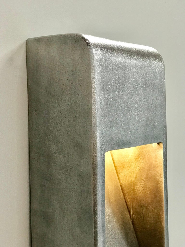 Cast Kyoto Indoor Outdoor LED Sconce Poured Aluminum Size Long Wet Rated Light For Sale