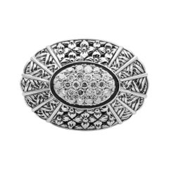 Kyoto White Diamond & Engraved Sterling Silver Ring
