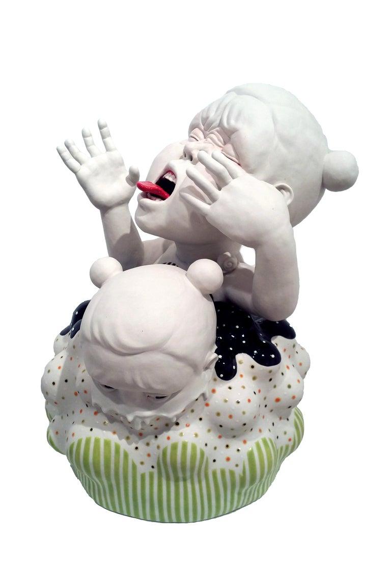"Kyungmin Park Figurative Sculpture - ""Vanish Again!"", Contemporary, Ceramic, Porcelain, Sculpture, Glaze, Underglaze"