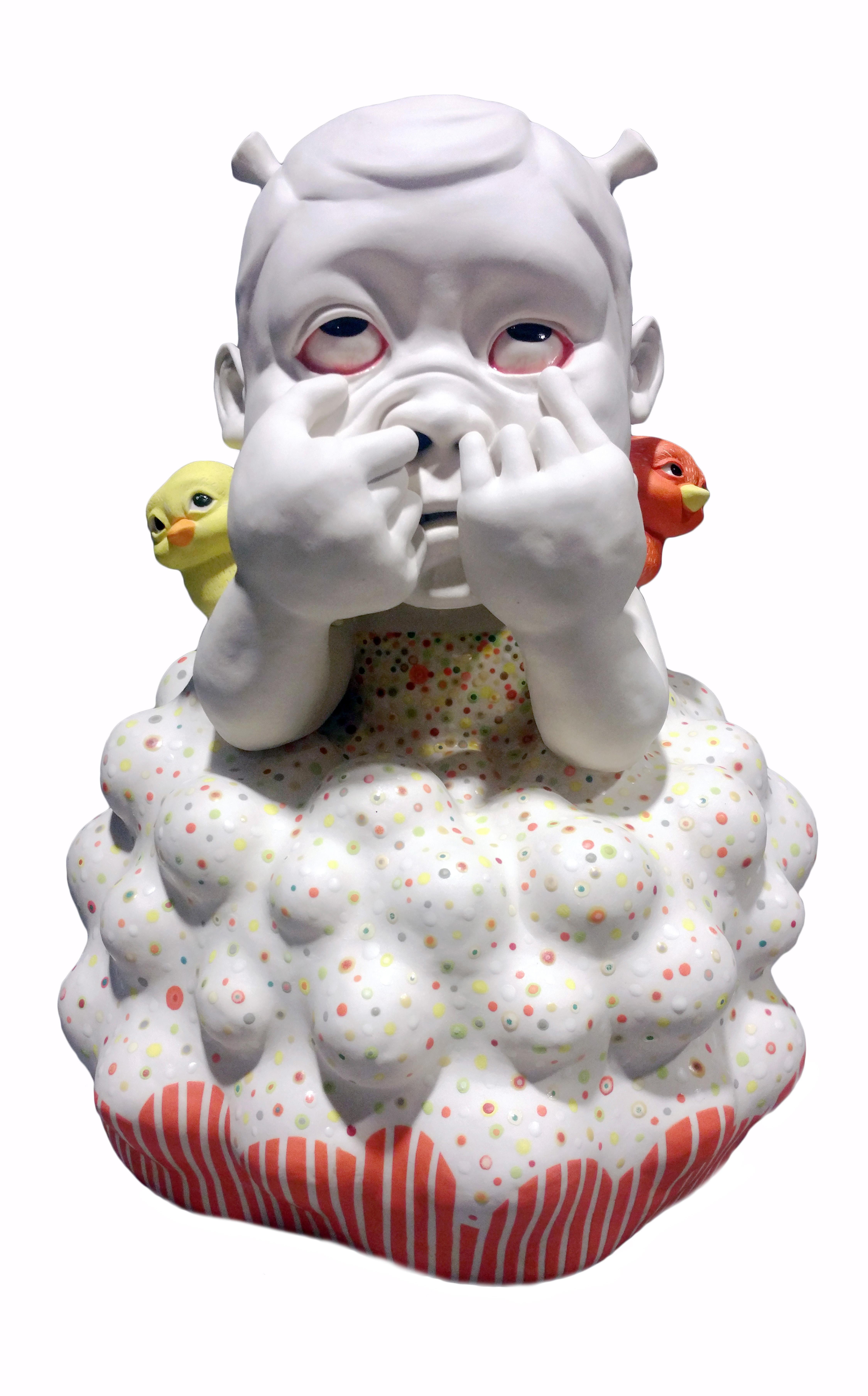 """You Silly Billy"", Contemporary Ceramic Porcelain Sculpture, Glaze, Underglaze"