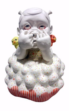 """You Silly Billy"", Contemporary Ceramic Porcelain Sculpture, Glaze, Underglaze"