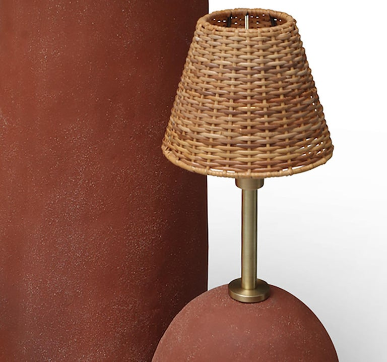 American L-1003 Sculptural Floor Lamp, Ceramic, Vintage Shades For Sale