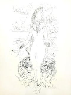 Leonard Foujita - Woman with Felines - Original Engraving