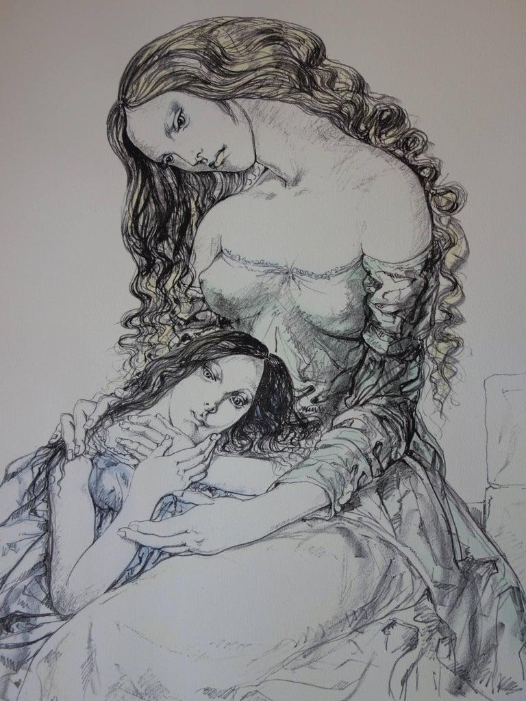 Mother and daughter - Original lithograph - 1964 (Buisson #64.287) - Realist Print by Léonard Tsugouharu Foujita