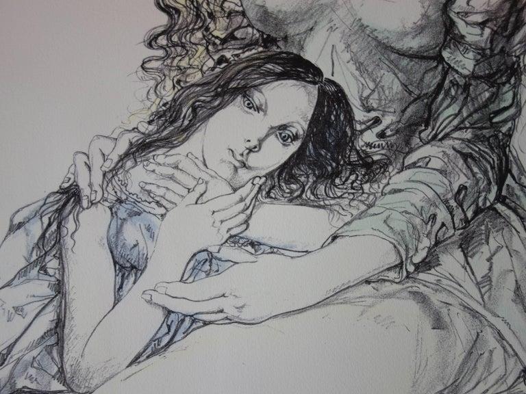 Mother and daughter - Original lithograph - 1964 (Buisson #64.287) - Gray Figurative Print by Léonard Tsugouharu Foujita