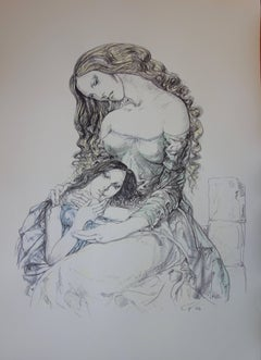 Mother and daughter - Original lithograph - 1964 (Buisson #64.287)