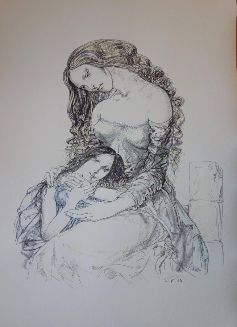 Léonard Tsugouharu Foujita Figurative Print - Mother and daughter - Original lithograph - 1964 (Buisson #64.287)
