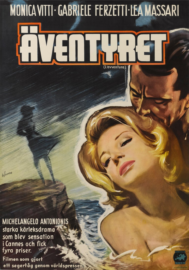 Original Swedish film poster for the 1960 Italian film directed by Michaelangelo Antonioni and stars Monica Vitti, Gabriele Ferzetti. This poster is in excellent condition and unfolded and conservation linen backed it would be shipped rolled in a