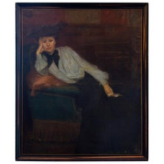L. Besnard, French 19th Century Painting of a Pensive Woman, Original Frame