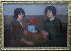 Portrait of Two Women - British 1913 Post Impressionist art exhib. oil painting