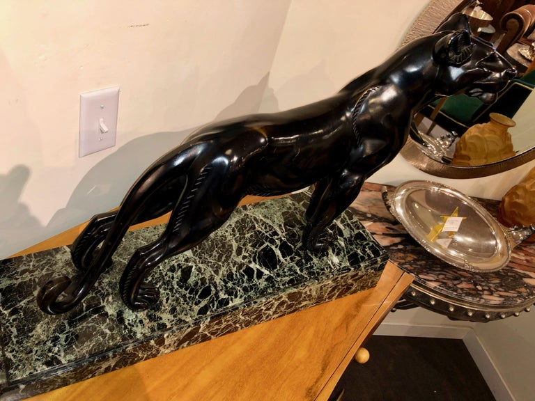 L. Carvin Black Panther Art Deco Bronze Sculpture In Good Condition For Sale In Oakland, CA