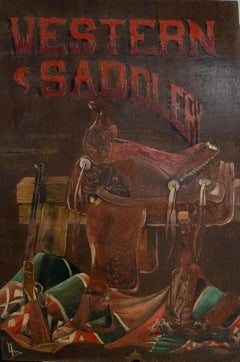 L. Fox - Mural Panel Contemporary Oil, Western Saddlery