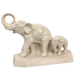 Elefanten aus kraquellierter und glasierter Keramik, L. Francois, Frankreich, 1930er Jahre