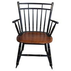 L. Hitchcock Black Harvest Stenciled Back Maple Windsor Rocking Arm Chair Rocker