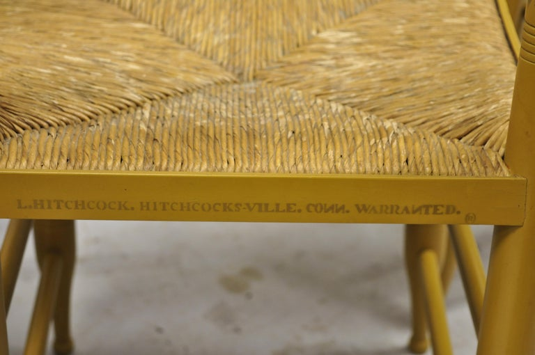 L. Hitchcock Yellow Stenciled Rush Seat Dining Side Chairs, Set of 4 For Sale 4