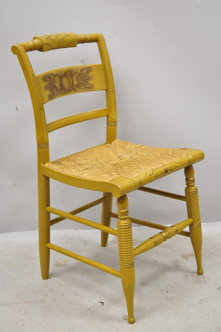 L. Hitchcock Yellow Stenciled Rush Seat Dining Side Chairs, Set of 4 For Sale 6