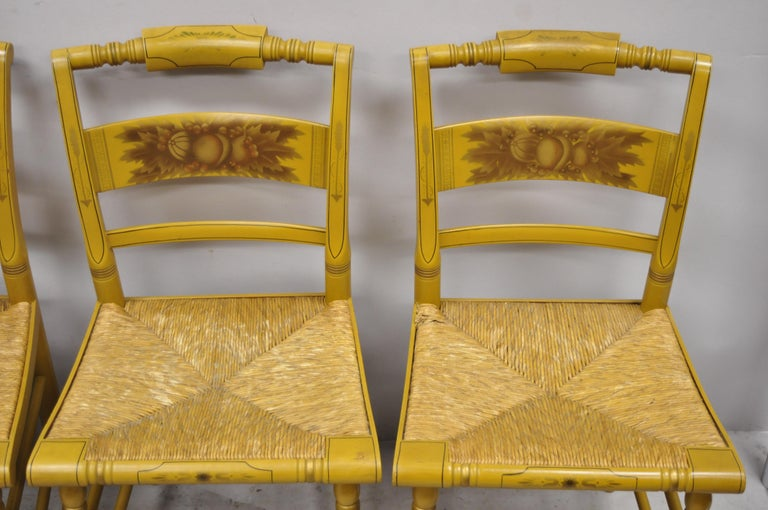 North American L. Hitchcock Yellow Stenciled Rush Seat Dining Side Chairs, Set of 4 For Sale