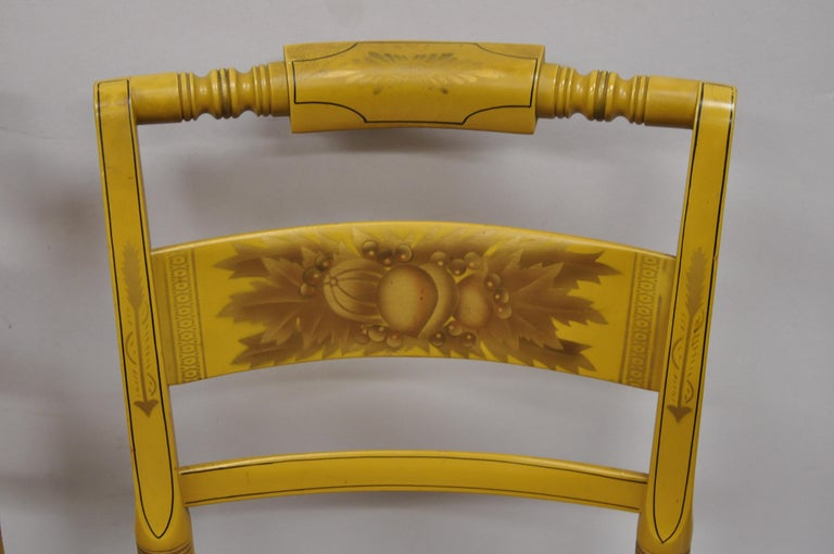 20th Century L. Hitchcock Yellow Stenciled Rush Seat Dining Side Chairs, Set of 4 For Sale