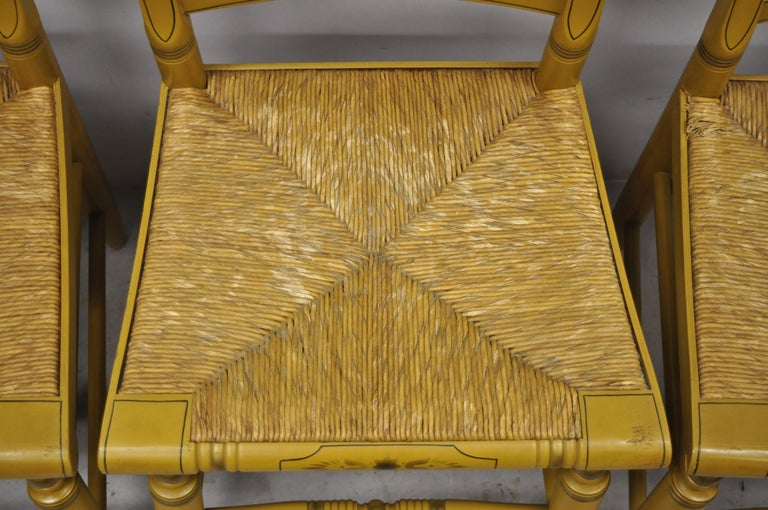 L. Hitchcock Yellow Stenciled Rush Seat Dining Side Chairs, Set of 4 For Sale 1