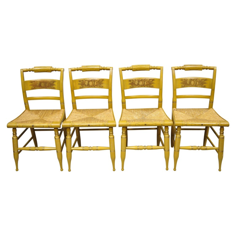 L. Hitchcock Yellow Stenciled Rush Seat Dining Side Chairs, Set of 4 For Sale
