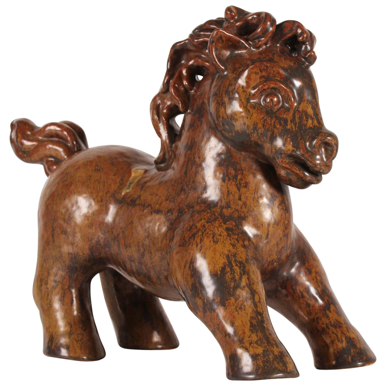 Huge L. Hjorth Horse Figurine by Gertrud Kudielka Danish Midcentury Ceramic
