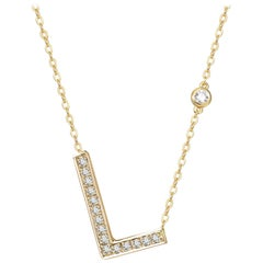 L Initial Bezel Chain Necklace