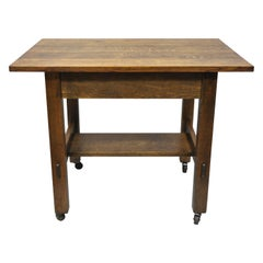 L & J G Stickley Mission Oak Model 597 Blind Drawer Work Stand Table