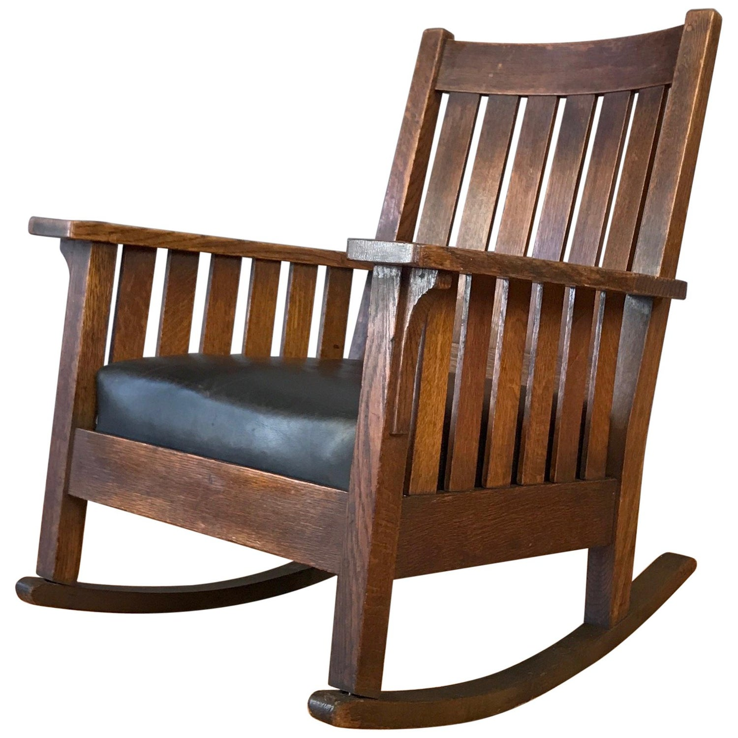 Surprising L And J G Stickley Arts And Crafts Oak And Leather Rocker Onthecornerstone Fun Painted Chair Ideas Images Onthecornerstoneorg