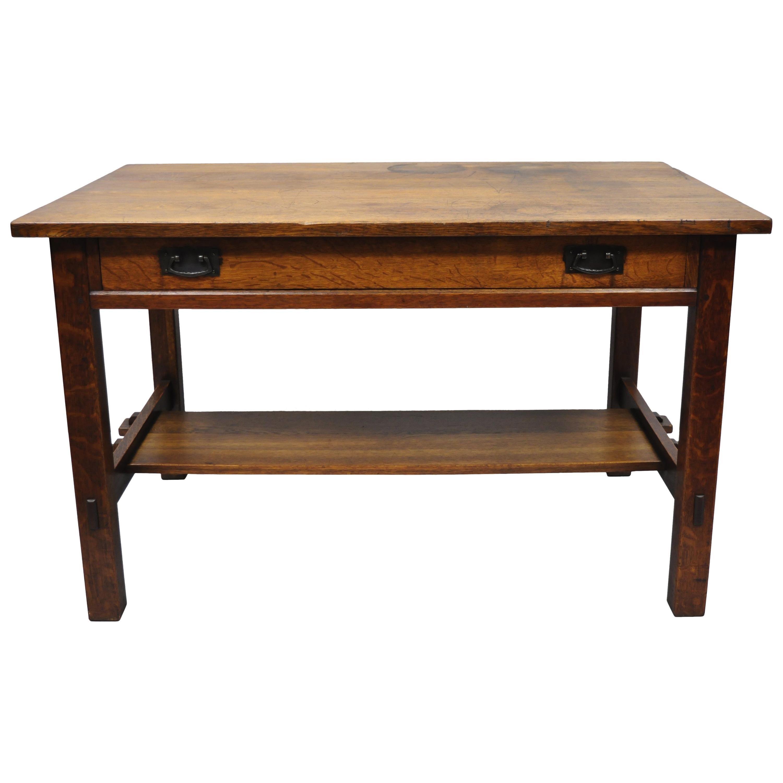 L & J.G. Stickley Library Table Desk #531 One Drawer Mission Oak Arts & Crafts