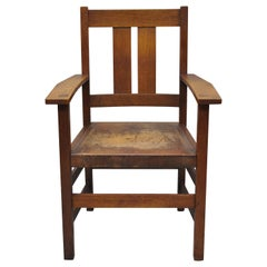 L & J.G. Stickley Oak Mission Arts & Crafts Dining Armchair Leather Seat