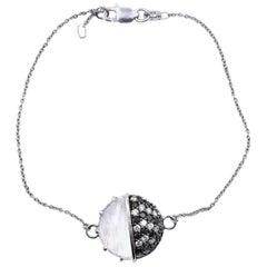 L. Medine 18 Karat White Gold Moonstone and Diamond Bracelet
