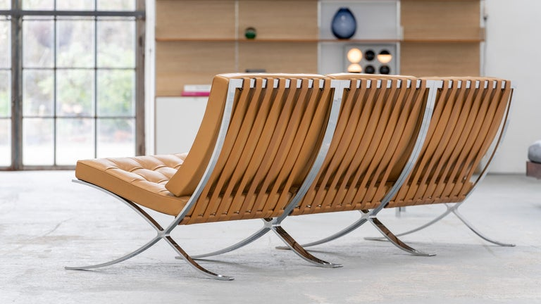 L. Mies van der Rohe, 3 Barcelona Chair, 1962 Edition by Knoll International For Sale 6