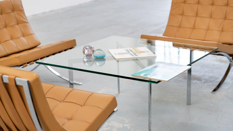 L. Mies van der Rohe, 3 Barcelona Chair, 1962 Edition by Knoll International For Sale 12